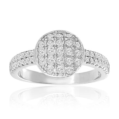 Imagen de Round Pave Cubic Zirconia Band Ring in Sterling Silver