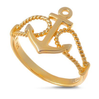 Imagen de Sterling Silver Anchor Double Rope Loop Band Ring Size 6