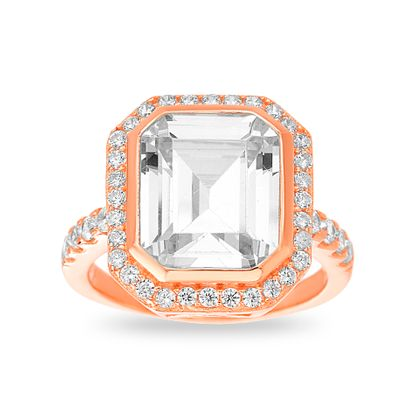 Imagen de Rose Gold Plated Sterling Silver Asscher Cut Cubic Zirconia Ring