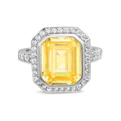 Imagen de Sterling Silver Asscher Cut Yellow Cubic Zirconia Rectangle Shaped Ring Size 6