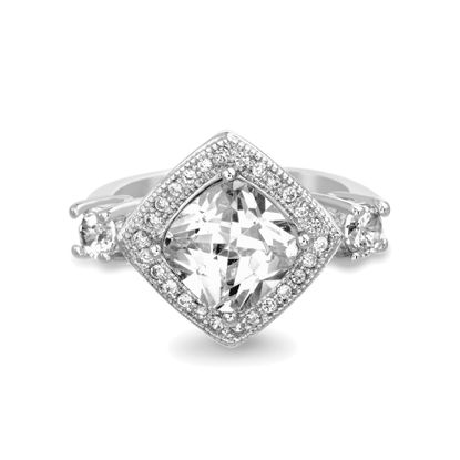 Imagen de Round Cubic Zirconia Engagement Ring In Sterling Silver