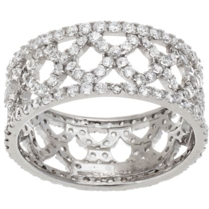 Imagen de Sterling Silver Cubic Zirconia X Design Band Ring Size 6