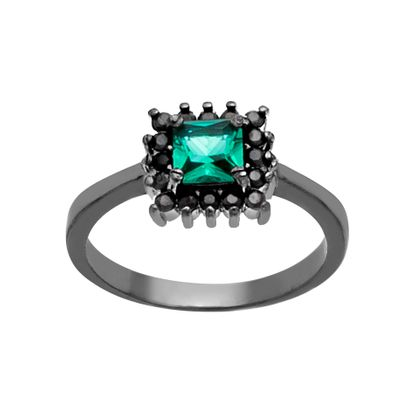 Imagen de Sterling Silver Emerald and Cubic Zirconia Ring