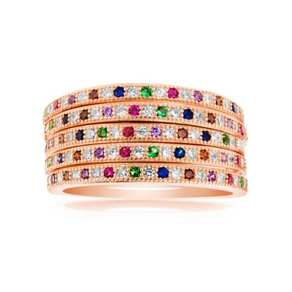 Picture of Multicolored Cubic Zirconia 5 Piece Stackable Band Ring Set in Rose Gold over Sterling Silver