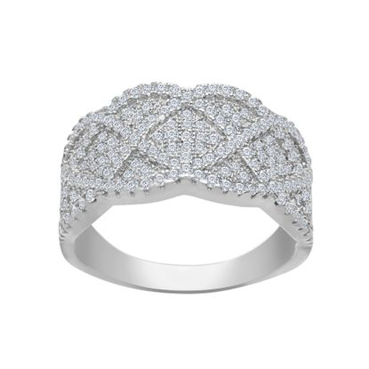 Imagen de Cubic Zirconia Graduated Crossover Ring in Sterling Silver