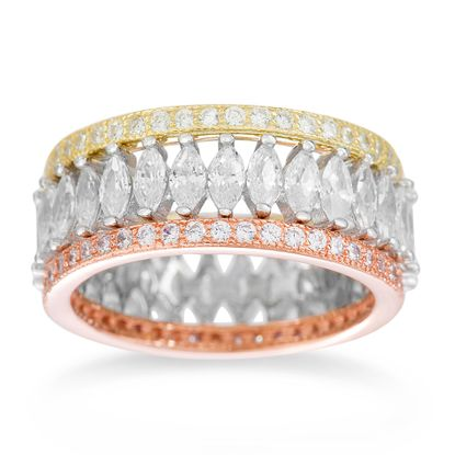 Imagen de Tri-Tone Sterling Silver Round and Marquise Cubic Zirconia 3 Piece Eternity Ring Set Size 7