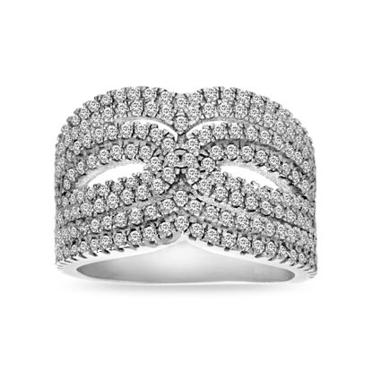 Imagen de Sterling Silver Cubic Zirconia Open Wavy Double Loop Design Ring Size 6