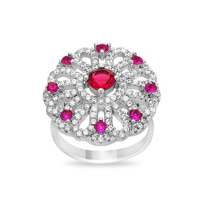 Picture of Multi Cubic Zriconia Convex Flower Ring