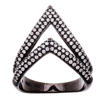 Imagen de Black Ion Double Cubic Zirconia Triangle Black Ion Ring