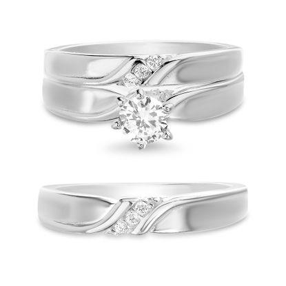 Imagen de Sterling Silver Cubic Zirconia Center Design Wedding  Trio Ring Set Size 7