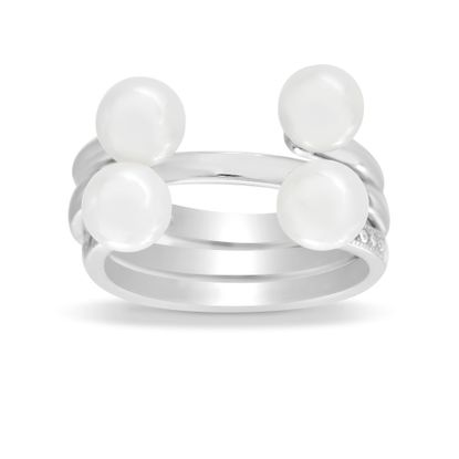 Imagen de Sterling Silver 3PC Cubic Zirconia Ring Set with Fresh Water Pearls