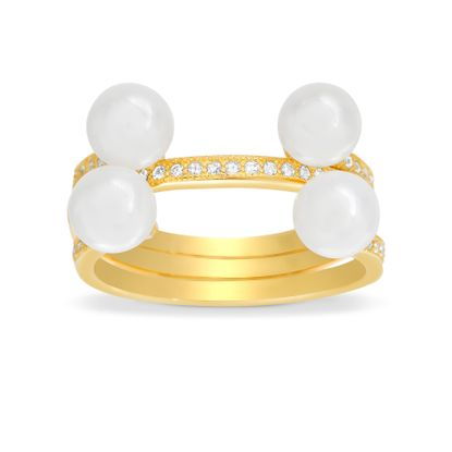 Picture of 3PC Cubic Zirconia Ring Set with Fresh Water Pearls