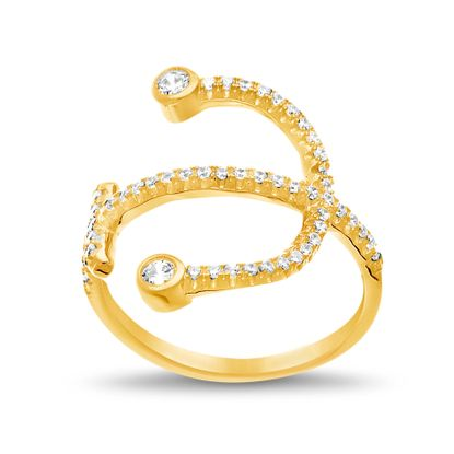 Imagen de Sterling Silver Cubic Zirconia Cross/Anchor Design Ring Size 6