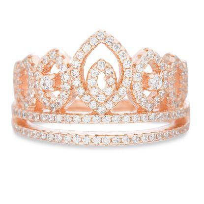 Imagen de Sterling Silver Cubic Zirconia Crown Design Ring Size 6