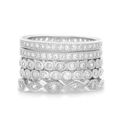 Imagen de Sterling Silver Cubic Zirconia 5 Piece Geometric Shaped Band Rings Size 8