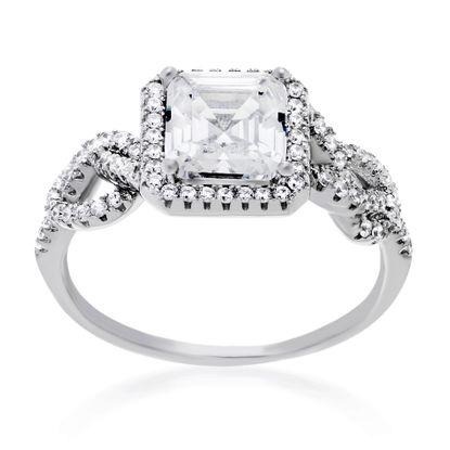 Imagen de Cubic Zirconia Princess Cut Engagement Ring Set in Sterling Silver