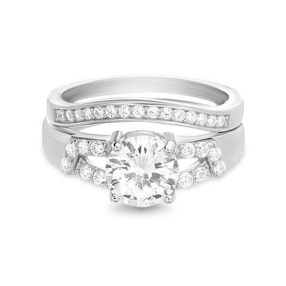 Imagen de Round Bridal Engagement Ring Set in Sterling Silver