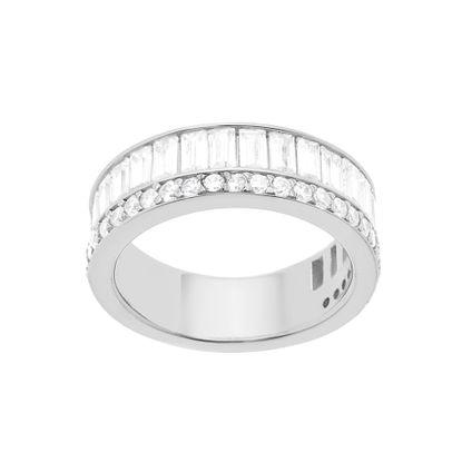 Imagen de Sterling Silver Cubic Zirconia Crystal Bar Design Ring Size 7