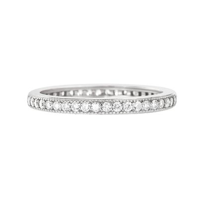 Picture of Sterling Silver Cubic Zirconia Eternity Band Ring Size 7