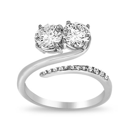 Picture of 2-Stone Cubic Zirconia Bypass Ring in Sterling Silver