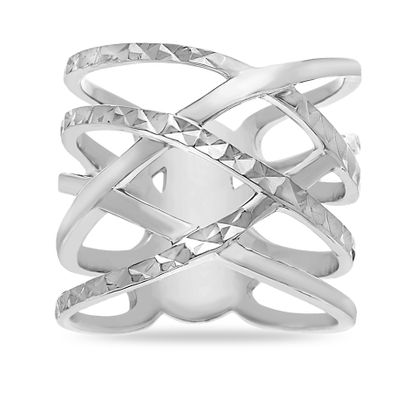 Imagen de Sterling Silver Cubic Zirconia Crossover Design Ring Size 6