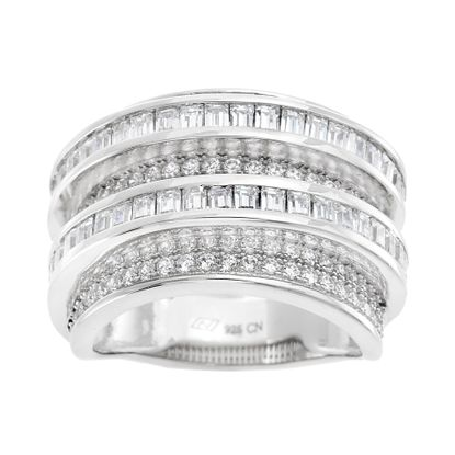 Imagen de Cubic Zirconia Round Border and Baguette Center Eternity Band in Rhodium over Sterling Silver Size 7