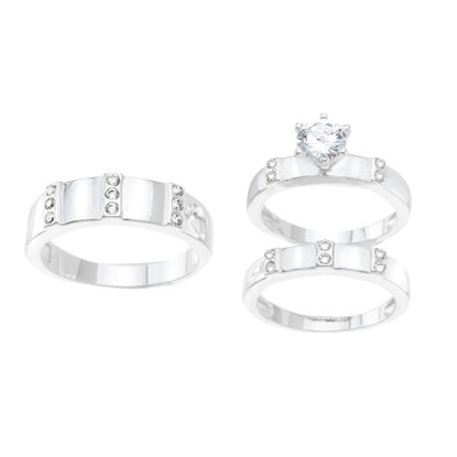 Imagen de Sterling Silver Cubic Zirconia 3 Piece Triple Stripe Design with 6 Prong Center Circle Wedding Band Rings Size 7