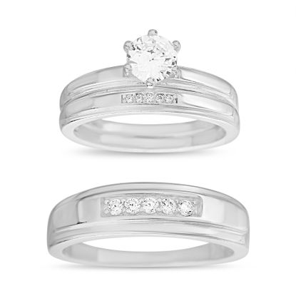 Imagen de Sterling Silver Cubic Zirconia 3 Piece Center Stripe Design with 6 Prong Center Circle Wedding Band Rings Size 7