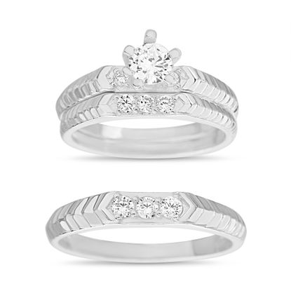 Imagen de Sterling Silver Cubic Zirconia 3 Piece V-Shape Stripe Design with 6 Prong Center Circle Wedding Band Rings Size 7