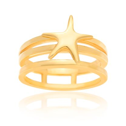 Picture of Sterling Silver Triple Strand Open Works Center Starfish Ring