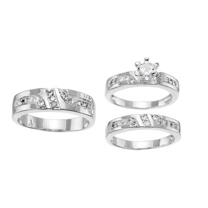 Imagen de Sterling Silver Cubic Zirconia Trio Diagonal Stripe and Round 6 Prong Engagement Band Rings