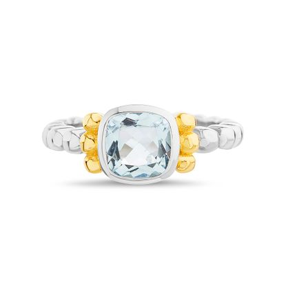 Imagen de Two-Tone Sterling Silver Cubic Zirconia Blue Square Topaz Center Ring Size 6