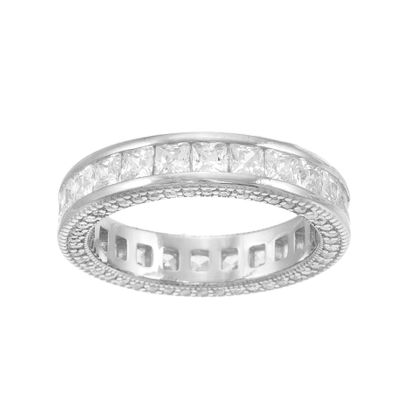 Imagen de Princess Cut Cubic Zirconia Eternity Band Ring in Sterling Silver
