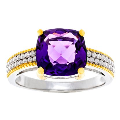 Imagen de Two-Tone Sterling Silver Purple Square Cubic Zirconia Ring Size 8