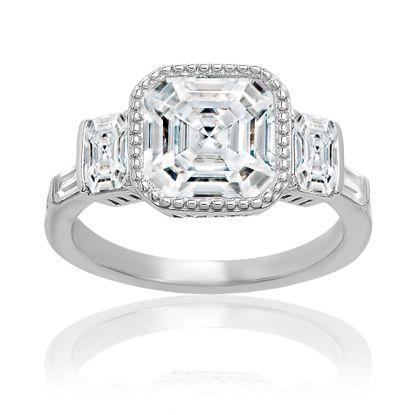 Imagen de Sterling Silver Clear Asscher Bezel Cubic Zirconia Ring Size 6