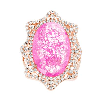Imagen de Sterling Silver Cubic Zirconia Border Oval Pink Crushed Stone Ring Size 6
