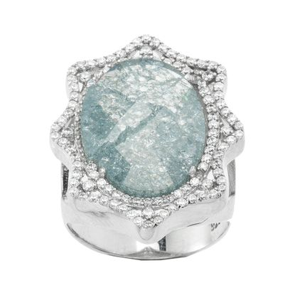 Imagen de Sterling Silver Cubic Zirconia Blue Stone Star Shaped Border Ring Size 6
