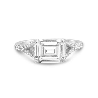 Imagen de Sterling Silver Baguette Cubic Zirconia Engagement Ring Size 7