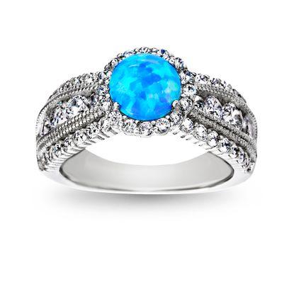 Imagen de Sterling Silver Blue Opal & CZ Ring Size 6
