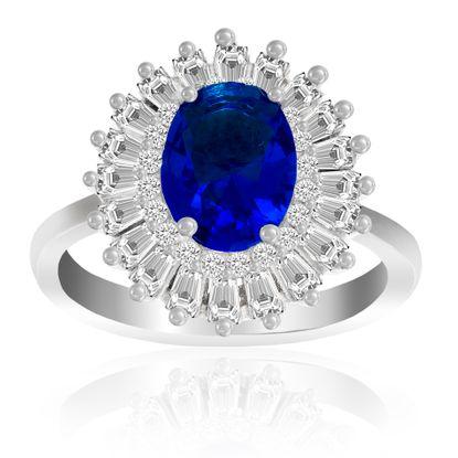 Imagen de Sterling Silver Blue Oval/Clear Baguette Cubic Zirconia Ring Size 6