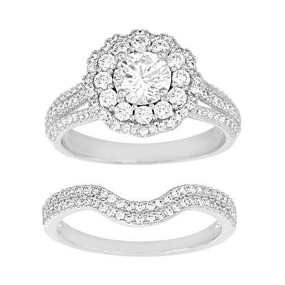 Imagen de Sterling Silver Cubic Zirconia Floral Duo Engagement Ring Size 6