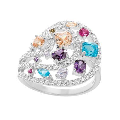 Imagen de Sterling Silver Multi-Color Cubic Zirconia Circle Open Work Ring Size 7
