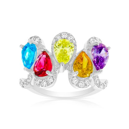 Imagen de Sterling Silver Multi-Color Teardrop Cubic Zirconia Ring Size 7