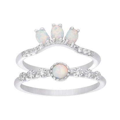 Imagen de Sterling Silver 2pc Bezel Cubic Zirconia & White Opal Ring Set Size 7