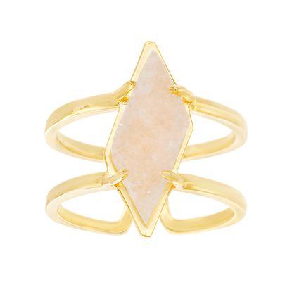 Imagen de Sterling Silver Diamond Shape Druzy Double-Strand Open Work Ring Size 6