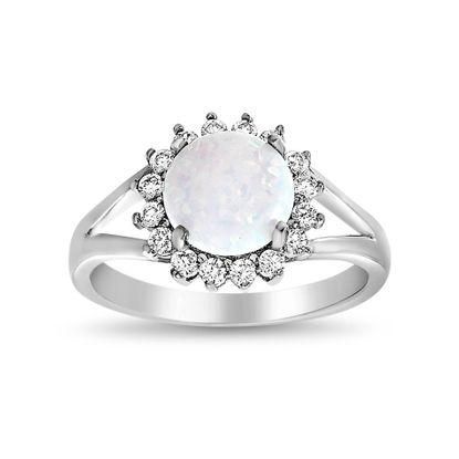 Imagen de Sterling Silver White Opal W/ CZ Floral Border Open Design Ring Size 7