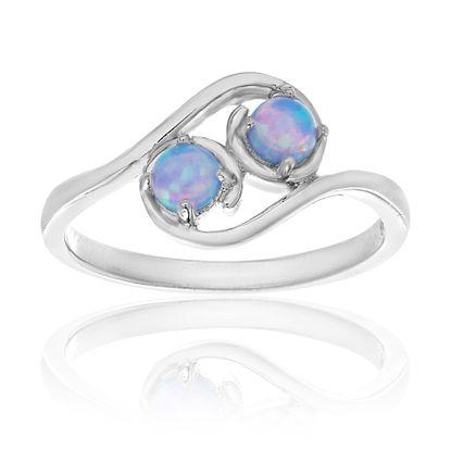 Imagen de Sterling Silver Blue Opal Bypass Ring Size 6