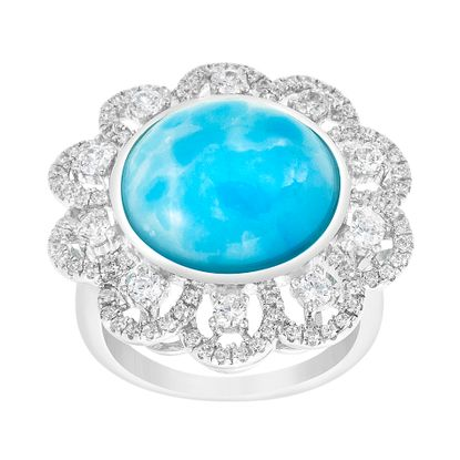 Imagen de Sterling Silver Larimar Stone & Cubic Zirconia Floral Design Border Ring Size 6