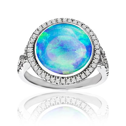 Imagen de Sterling Silver Blue Opal & Cubic Zirconia Border Round Design Ring