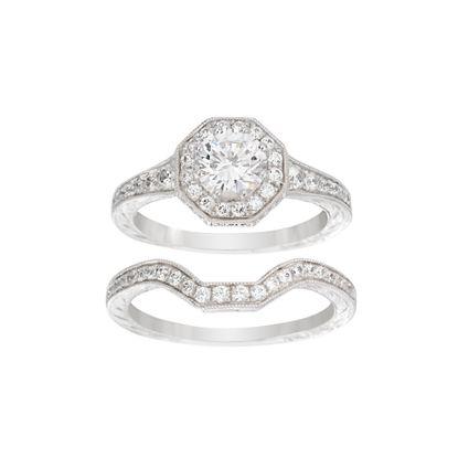 Imagen de Sterling Silver Cubic Zirconia Center Geo Shaped Border Duo Wedding Ring Set Size 6